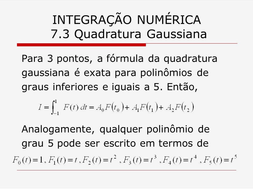 INTEGRAÇÃO NUMÉRICA 7.3 Quadratura Gaussiana Para 3 pontos, a fórmula da quadratura gaussiana é exata para polinômios de graus inferiores e iguais a 5