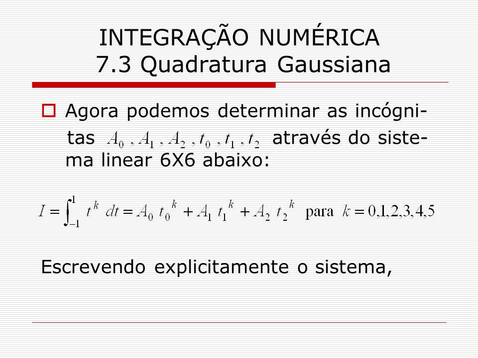 INTEGRAÇÃO NUMÉRICA 7.3 Quadratura Gaussiana Agora podemos determinar as incógni- tas através do siste- ma linear 6X6 abaixo: Escrevendo explicitament