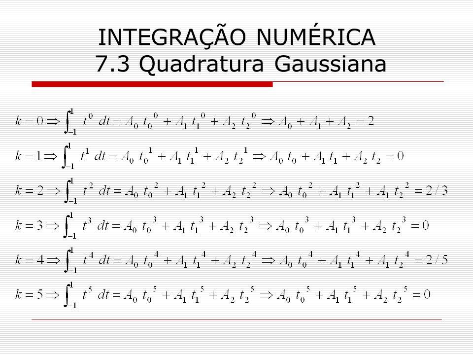 INTEGRAÇÃO NUMÉRICA 7.3 Quadratura Gaussiana