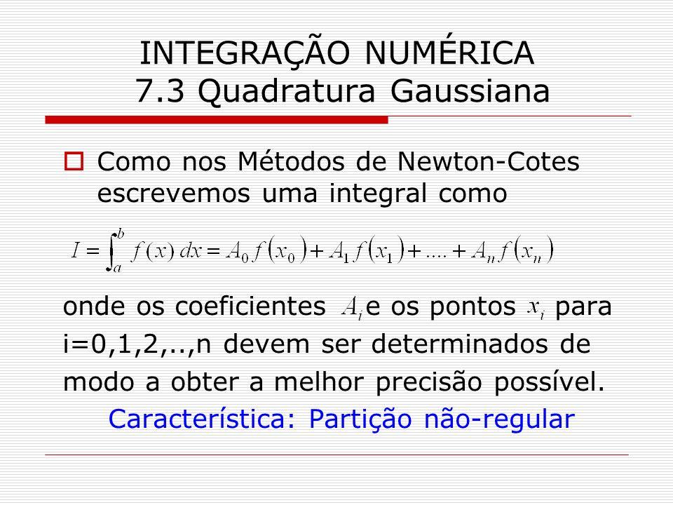 INTEGRAÇÃO NUMÉRICA 7.3 Quadratura Gaussiana Como nos Métodos de Newton-Cotes escrevemos uma integral como onde os coeficientes e os pontos para i=0,1