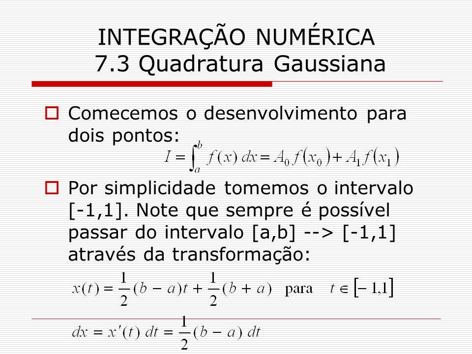 INTEGRAÇÃO NUMÉRICA 7.3 Quadratura Gaussiana Comecemos o desenvolvimento para dois pontos: Por simplicidade tomemos o intervalo [-1,1]. Note que sempr