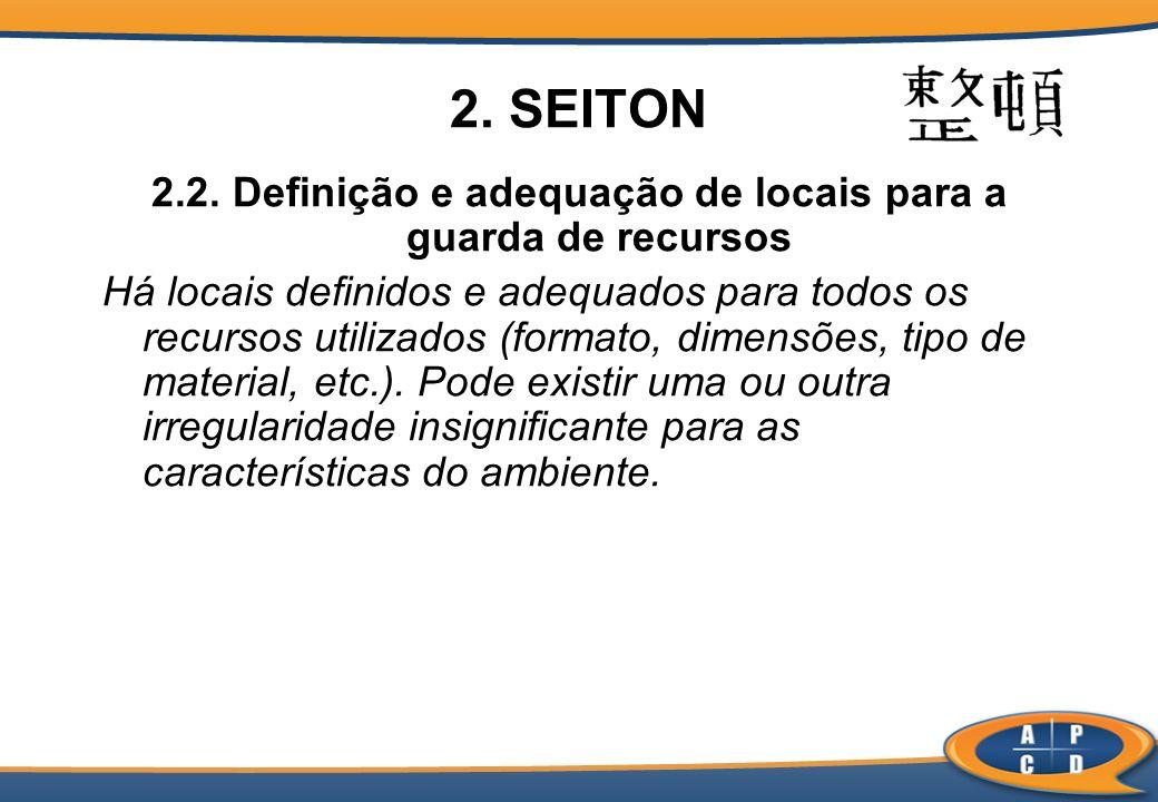 2. SEITON 2.2. Definição e adequação de locais para a guarda de recursos Há locais definidos e adequados para todos os recursos utilizados (formato, d