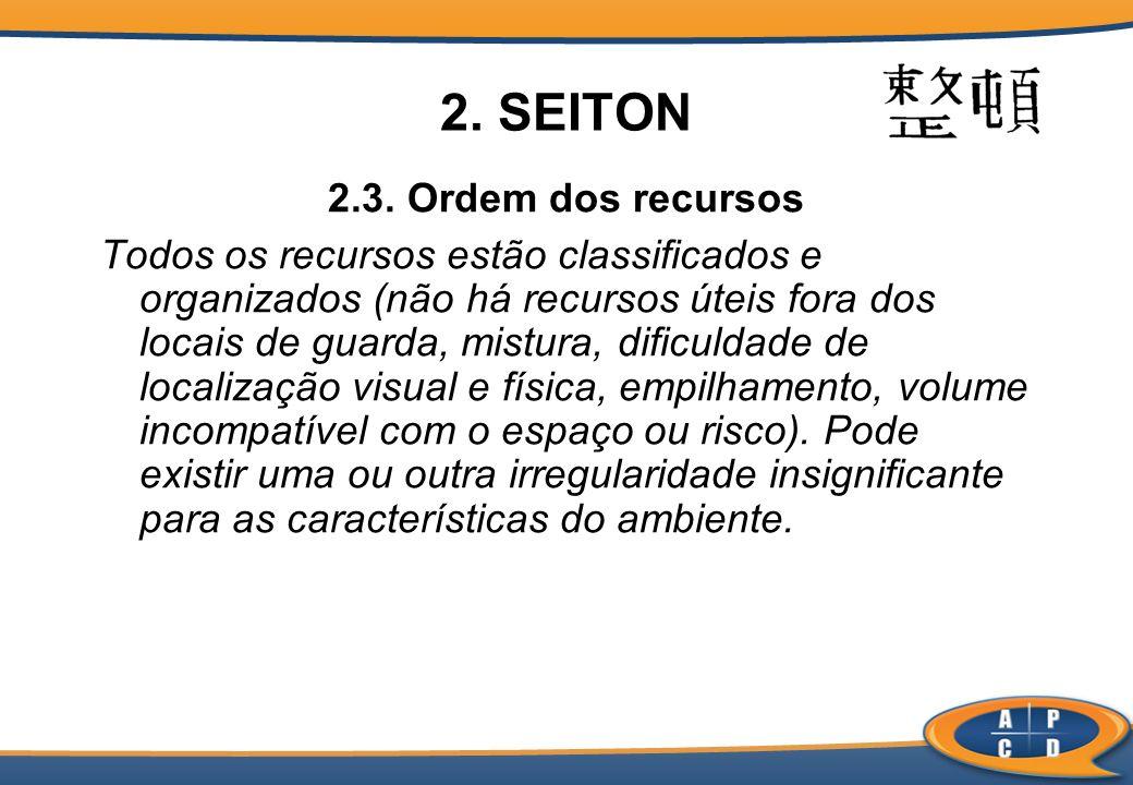 2. SEITON 2.3. Ordem dos recursos Todos os recursos estão classificados e organizados (não há recursos úteis fora dos locais de guarda, mistura, dific