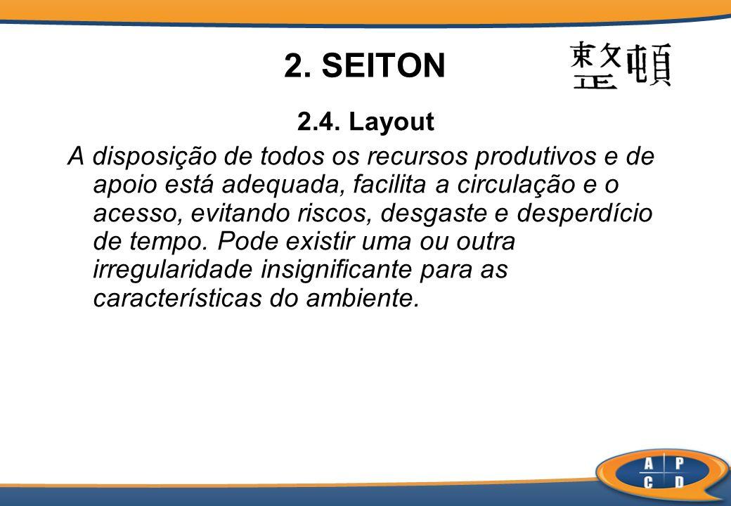 2. SEITON 2.4. Layout A disposição de todos os recursos produtivos e de apoio está adequada, facilita a circulação e o acesso, evitando riscos, desgas