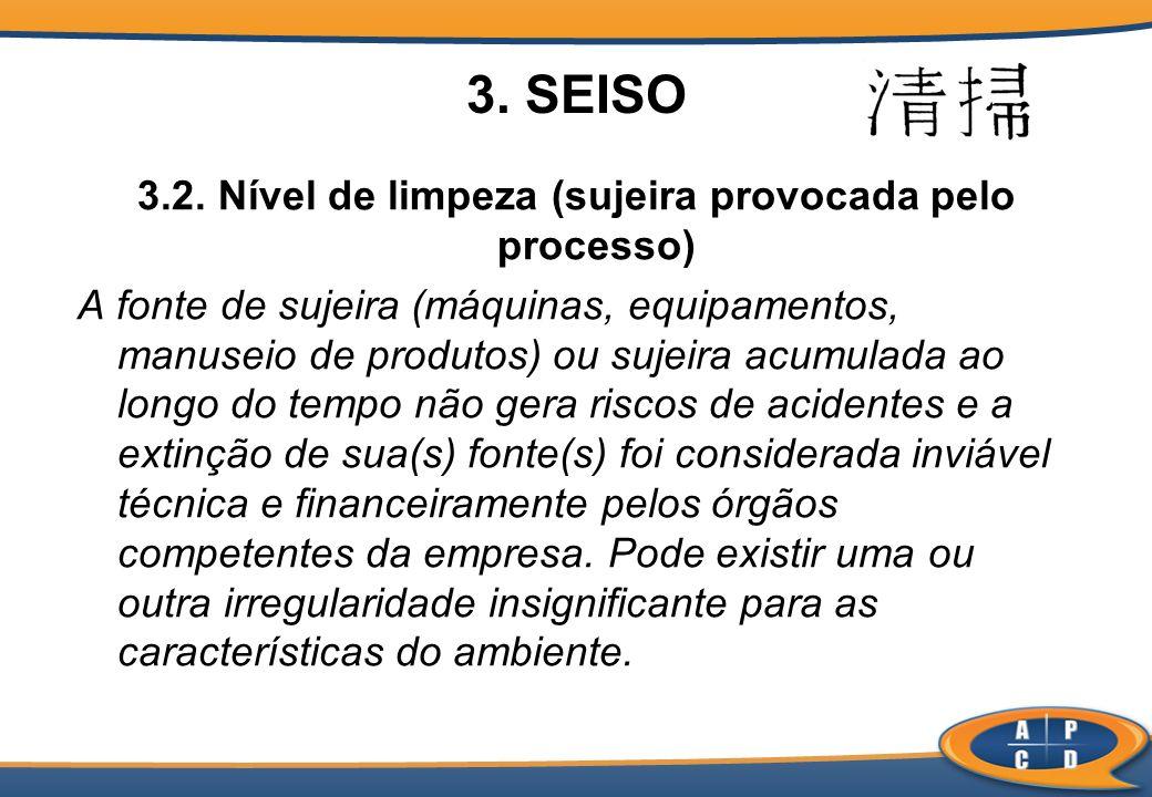 3. SEISO 3.2. Nível de limpeza (sujeira provocada pelo processo) A fonte de sujeira (máquinas, equipamentos, manuseio de produtos) ou sujeira acumulad
