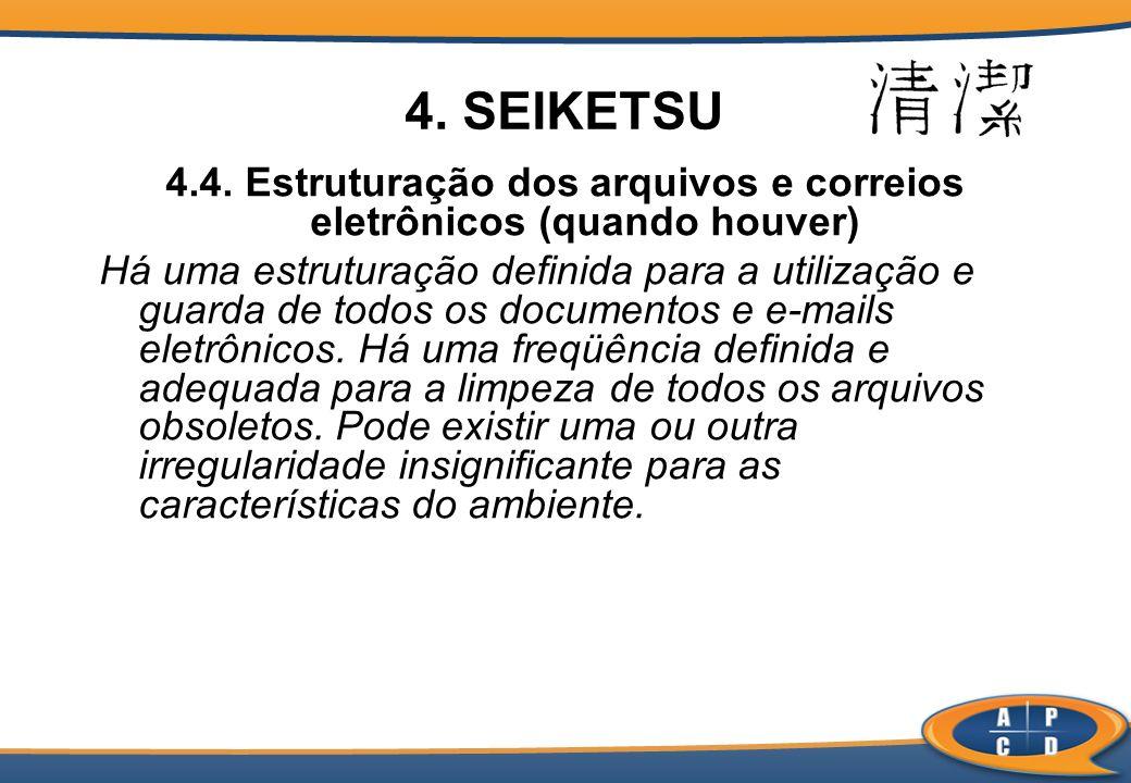 4.4. Estruturação dos arquivos e correios eletrônicos (quando houver) Há uma estruturação definida para a utilização e guarda de todos os documentos e