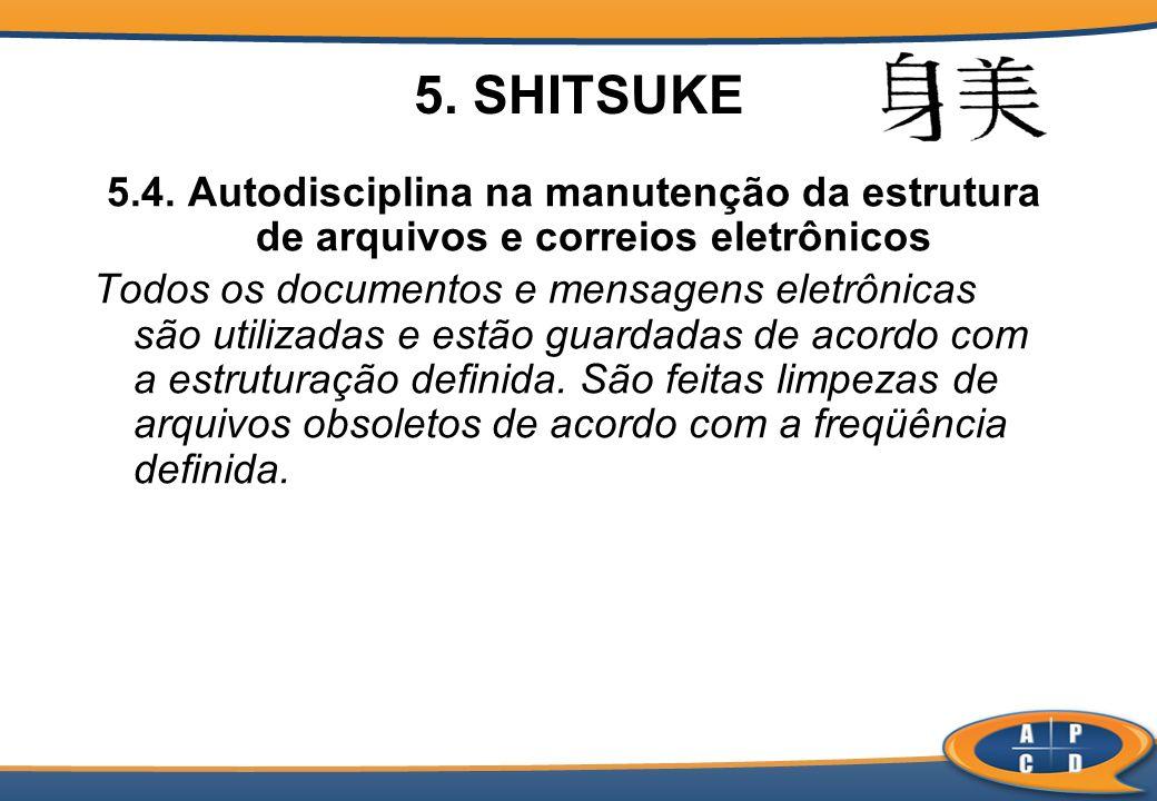 5. SHITSUKE 5.4. Autodisciplina na manutenção da estrutura de arquivos e correios eletrônicos Todos os documentos e mensagens eletrônicas são utilizad