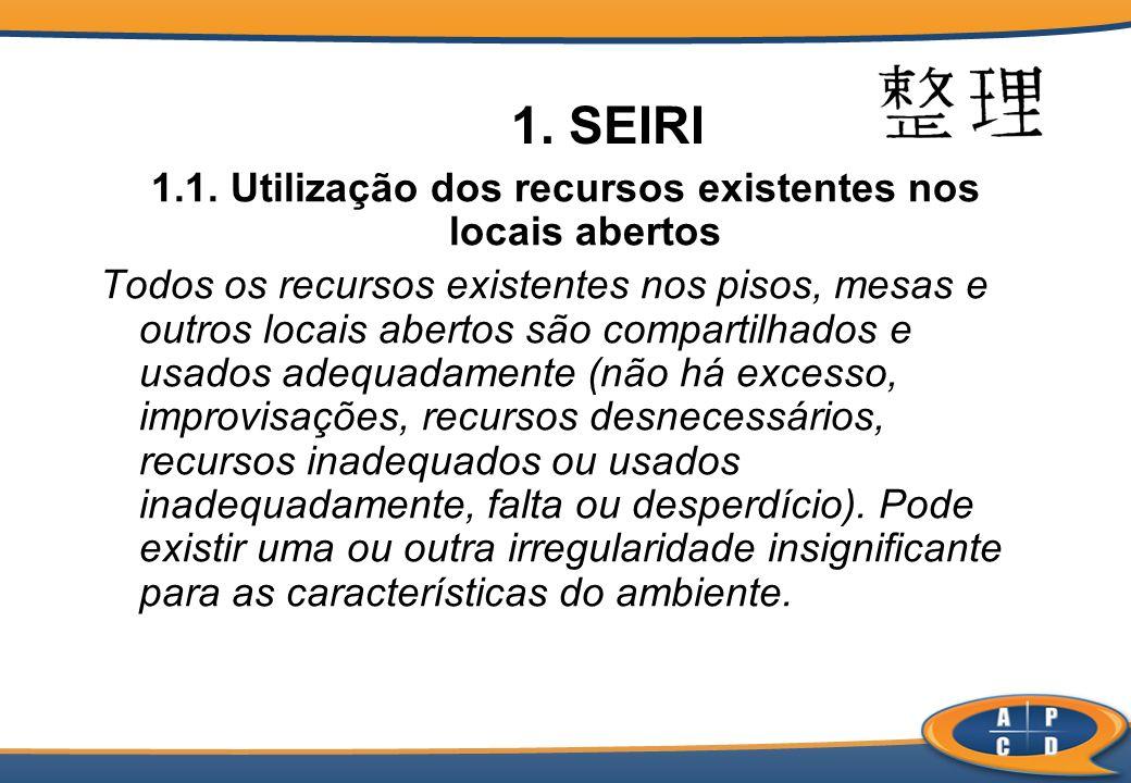 1. SEIRI 1.1. Utilização dos recursos existentes nos locais abertos Todos os recursos existentes nos pisos, mesas e outros locais abertos são comparti