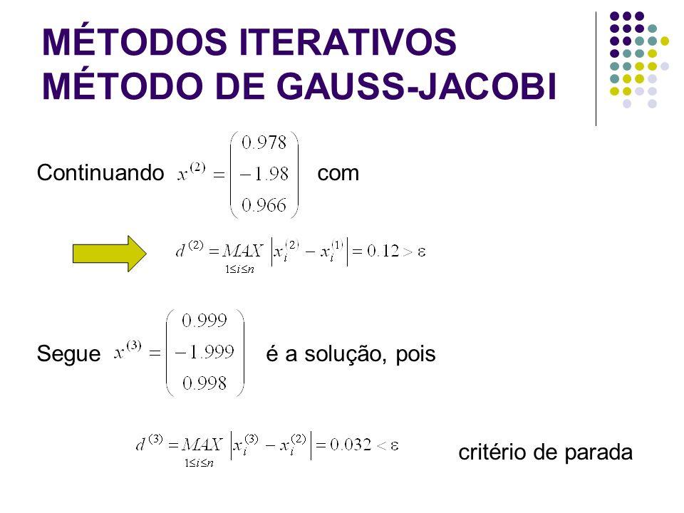 MÉTODOS ITERATIVOS MÉTODO DE GAUSS-JACOBI Continuando com Segue é a solução, pois critério de parada