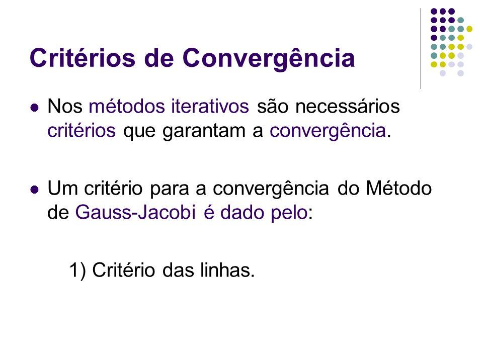 Critérios de Convergência Nos métodos iterativos são necessários critérios que garantam a convergência. Um critério para a convergência do Método de G