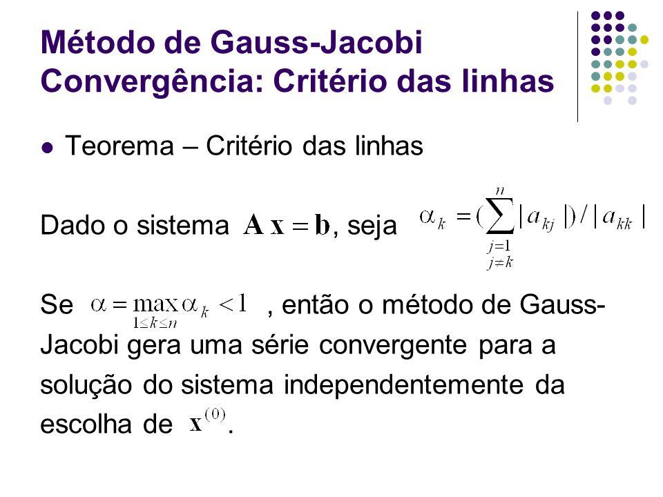 Método de Gauss-Jacobi Convergência: Critério das linhas Teorema – Critério das linhas Dado o sistema, seja Se, então o método de Gauss- Jacobi gera u