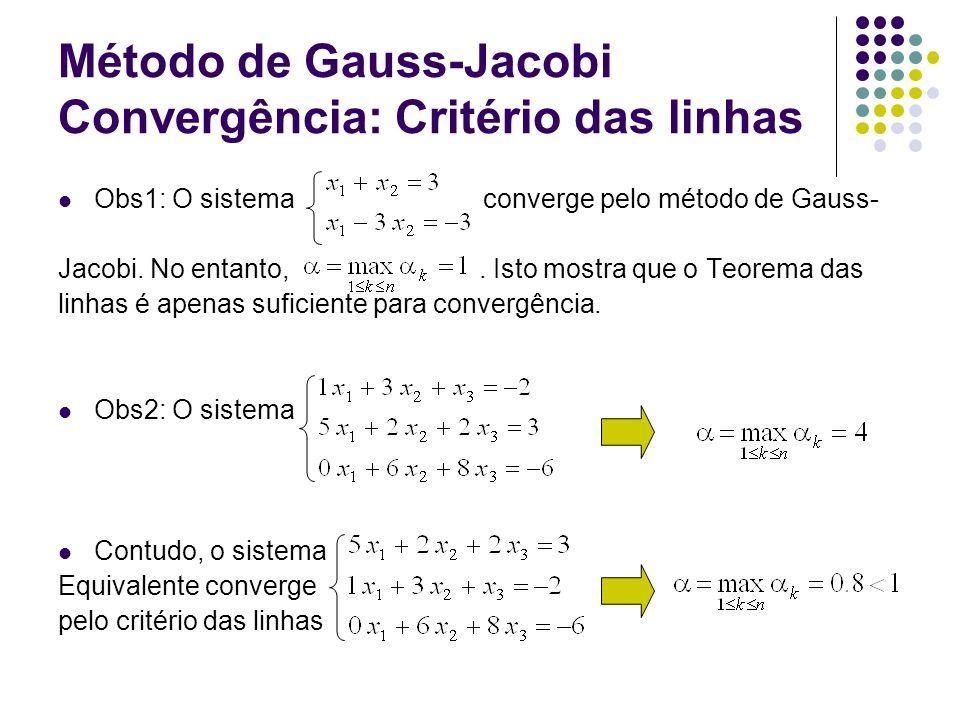 Método de Gauss-Jacobi Convergência: Critério das linhas Obs1: O sistema converge pelo método de Gauss- Jacobi. No entanto,. Isto mostra que o Teorema
