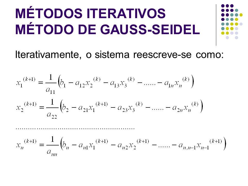 MÉTODOS ITERATIVOS MÉTODO DE GAUSS-SEIDEL Iterativamente, o sistema reescreve-se como: