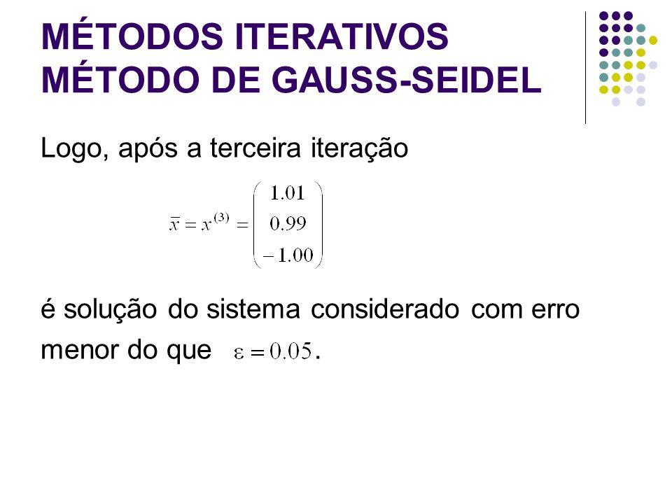 MÉTODOS ITERATIVOS MÉTODO DE GAUSS-SEIDEL Logo, após a terceira iteração é solução do sistema considerado com erro menor do que.