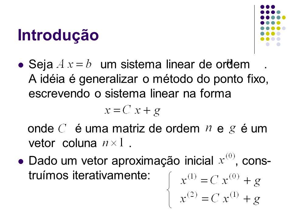 Introdução Seja um sistema linear de ordem. A idéia é generalizar o método do ponto fixo, escrevendo o sistema linear na forma onde é uma matriz de or