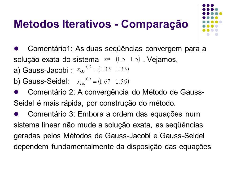 Metodos Iterativos - Comparação Comentário1: As duas seqüências convergem para a solução exata do sistema. Vejamos, a) Gauss-Jacobi : b) Gauss-Seidel: