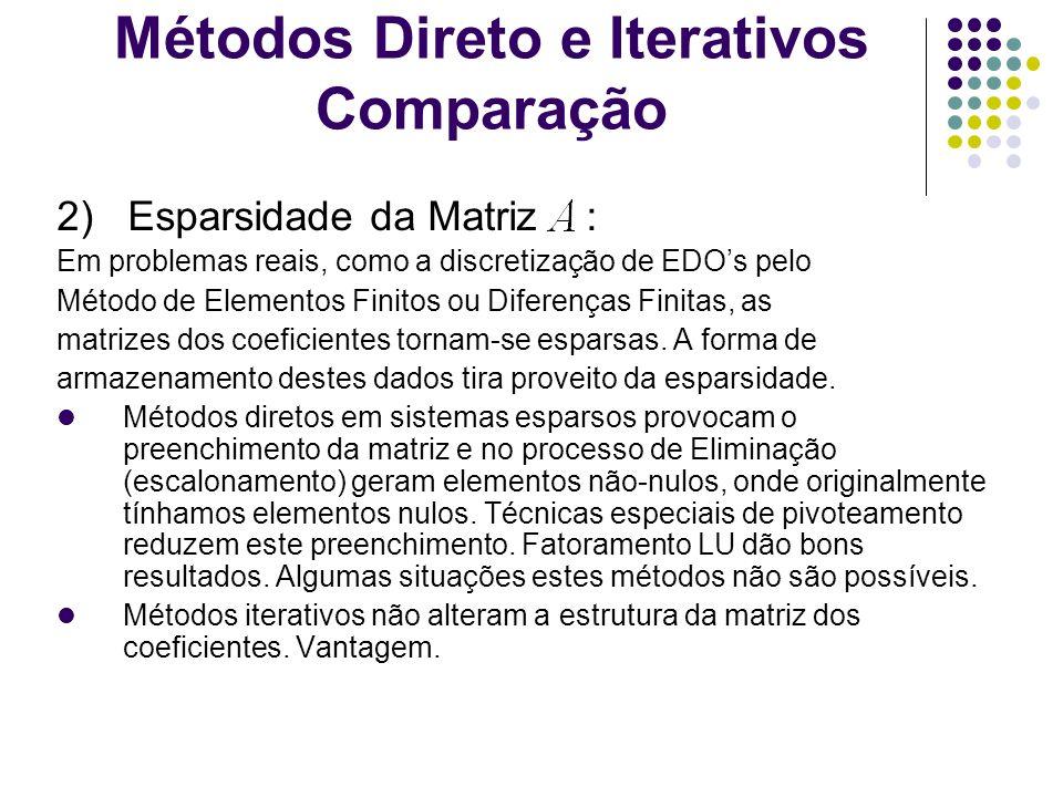Métodos Direto e Iterativos Comparação 2) Esparsidade da Matriz : Em problemas reais, como a discretização de EDOs pelo Método de Elementos Finitos ou