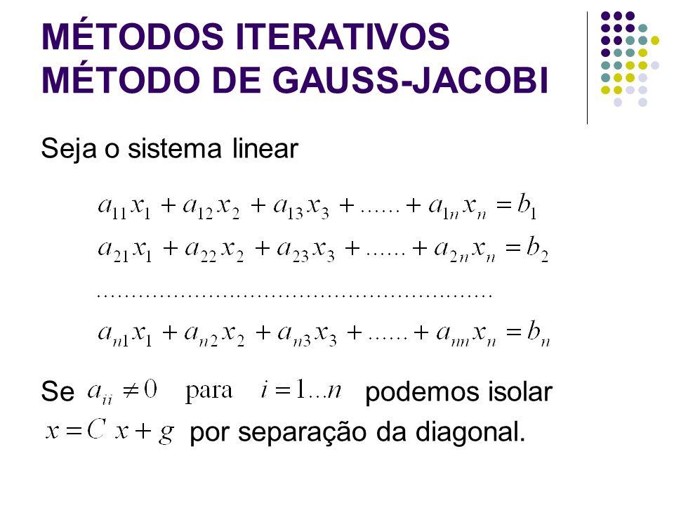 MÉTODOS ITERATIVOS MÉTODO DE GAUSS-JACOBI Seja o sistema linear Se podemos isolar por separação da diagonal.