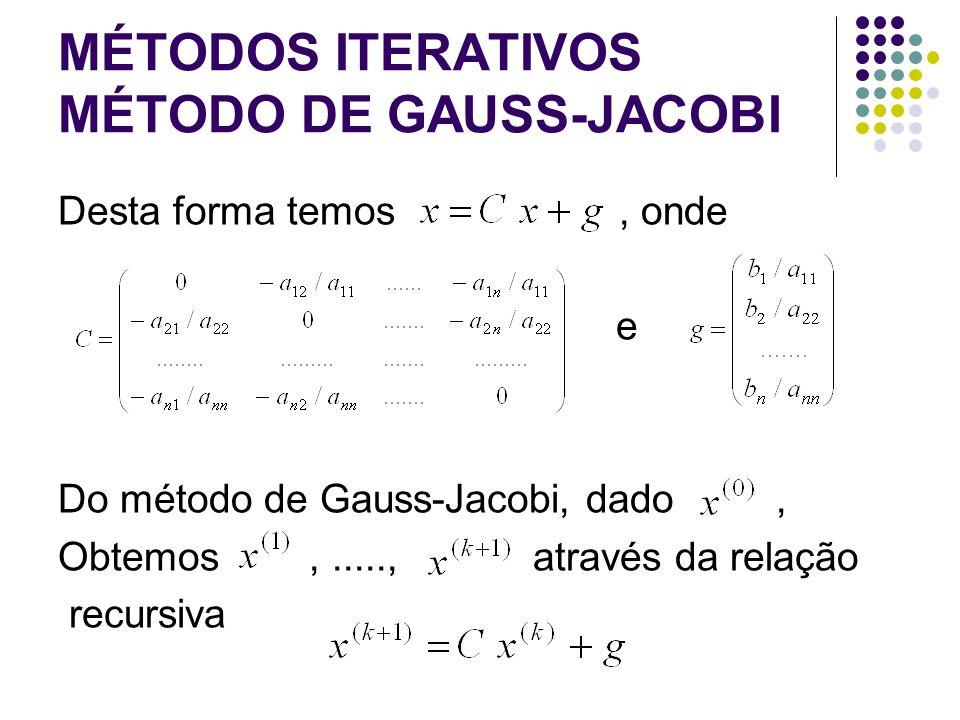 MÉTODOS ITERATIVOS MÉTODO DE GAUSS-JACOBI Desta forma temos, onde e Do método de Gauss-Jacobi, dado, Obtemos,....., através da relação recursiva
