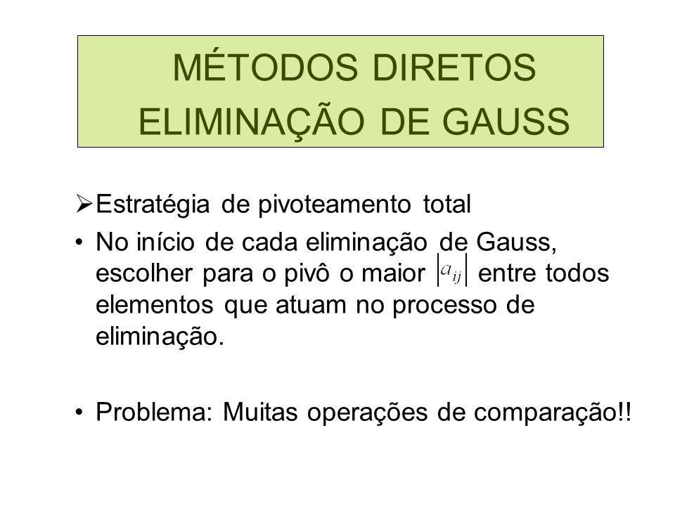 MÉTODOS DIRETOS ELIMINAÇÃO DE GAUSS Estratégia de pivoteamento total No início de cada eliminação de Gauss, escolher para o pivô o maior entre todos e