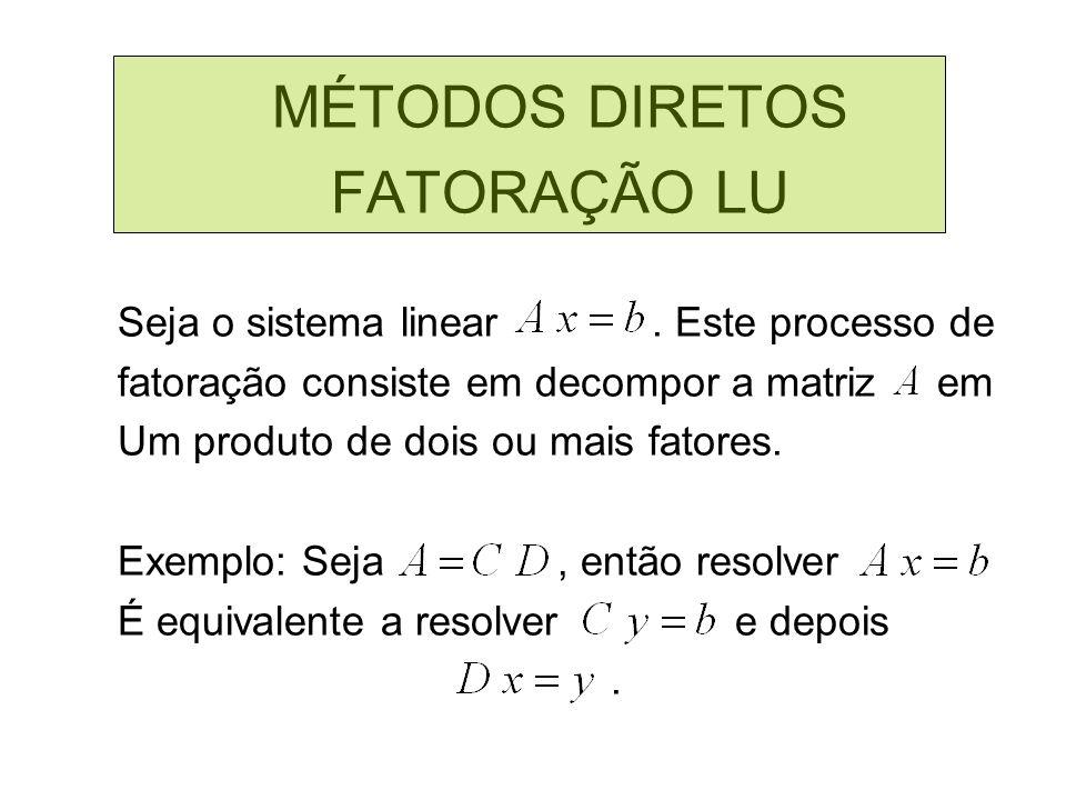 MÉTODOS DIRETOS FATORAÇÃO LU Seja o sistema linear. Este processo de fatoração consiste em decompor a matriz em Um produto de dois ou mais fatores. Ex