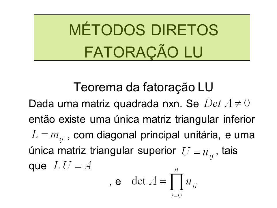 MÉTODOS DIRETOS FATORAÇÃO LU Teorema da fatoração LU Dada uma matriz quadrada nxn. Se então existe uma única matriz triangular inferior, com diagonal
