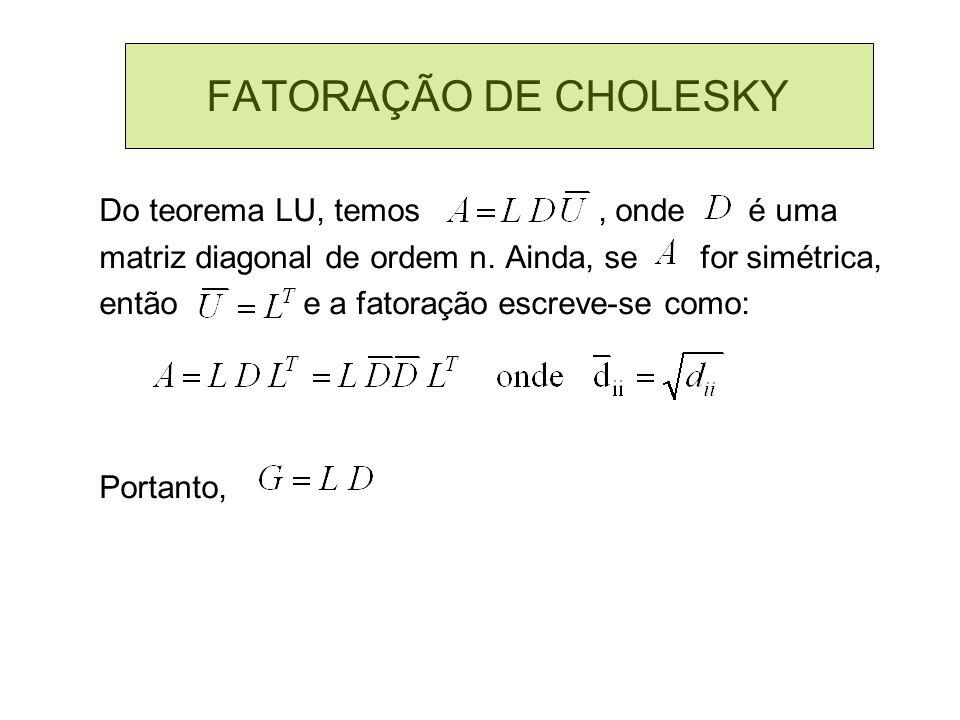 FATORAÇÃO DE CHOLESKY Do teorema LU, temos, onde é uma matriz diagonal de ordem n. Ainda, se for simétrica, então e a fatoração escreve-se como: Porta