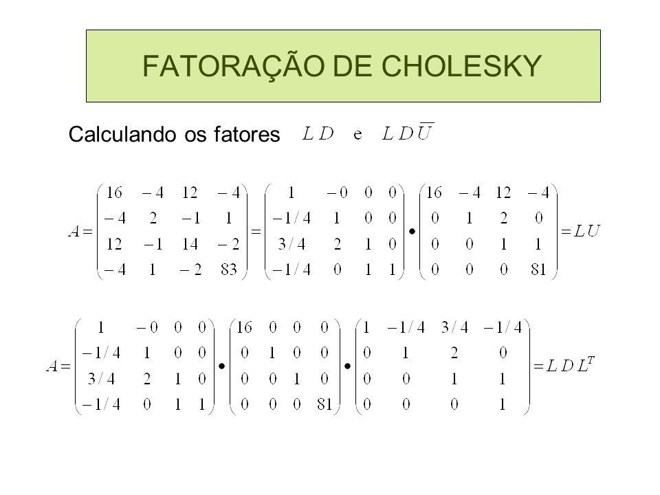 FATORAÇÃO DE CHOLESKY Calculando os fatores