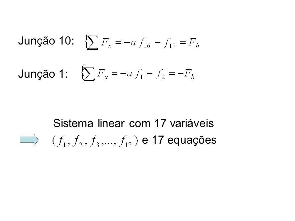Junção 1: Sistema linear com 17 variáveis e 17 equações