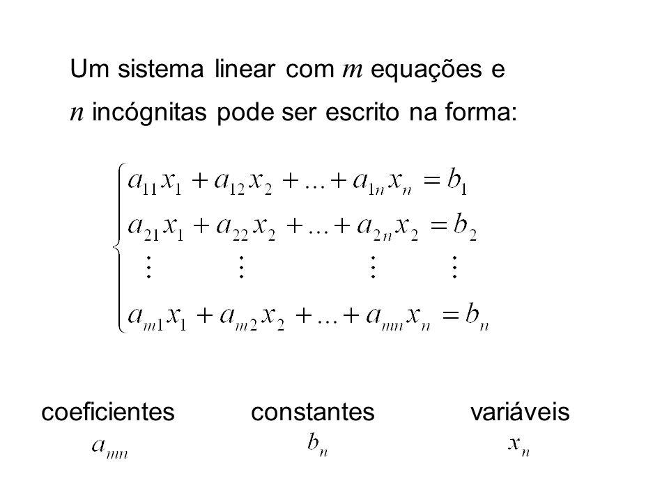 Resolver o sistema linear Calcular os valores de, caso existam, que satisfaçam as m equações.
