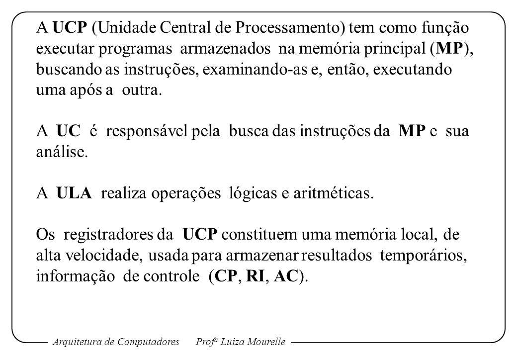 Arquitetura de ComputadoresProf a Luiza Mourelle A UCP (Unidade Central de Processamento) tem como função executar programas armazenados na memória pr
