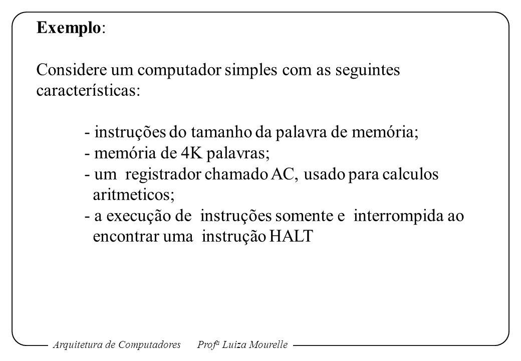 Arquitetura de ComputadoresProf a Luiza Mourelle Exemplo: Considere um computador simples com as seguintes características: - instruções do tamanho da