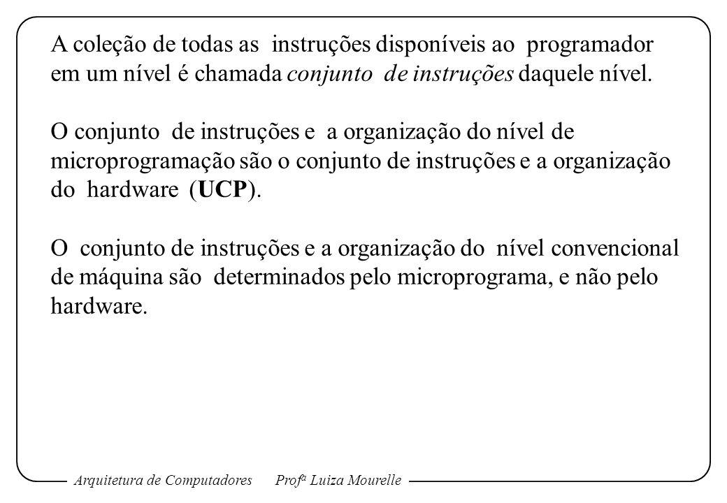 Arquitetura de ComputadoresProf a Luiza Mourelle A coleção de todas as instruções disponíveis ao programador em um nível é chamada conjunto de instruç