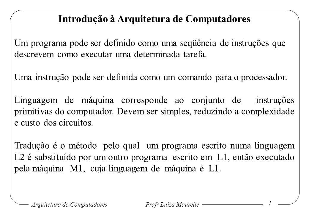 Arquitetura de Computadores Prof a Luiza Mourelle 2 Introdução à Arquitetura de Computadores Interpretação é o método pelo qual um programa escrito em L1 executa cada instrução do programa escrito em L2, através de uma seqüência de instruções L1 equivalentes.
