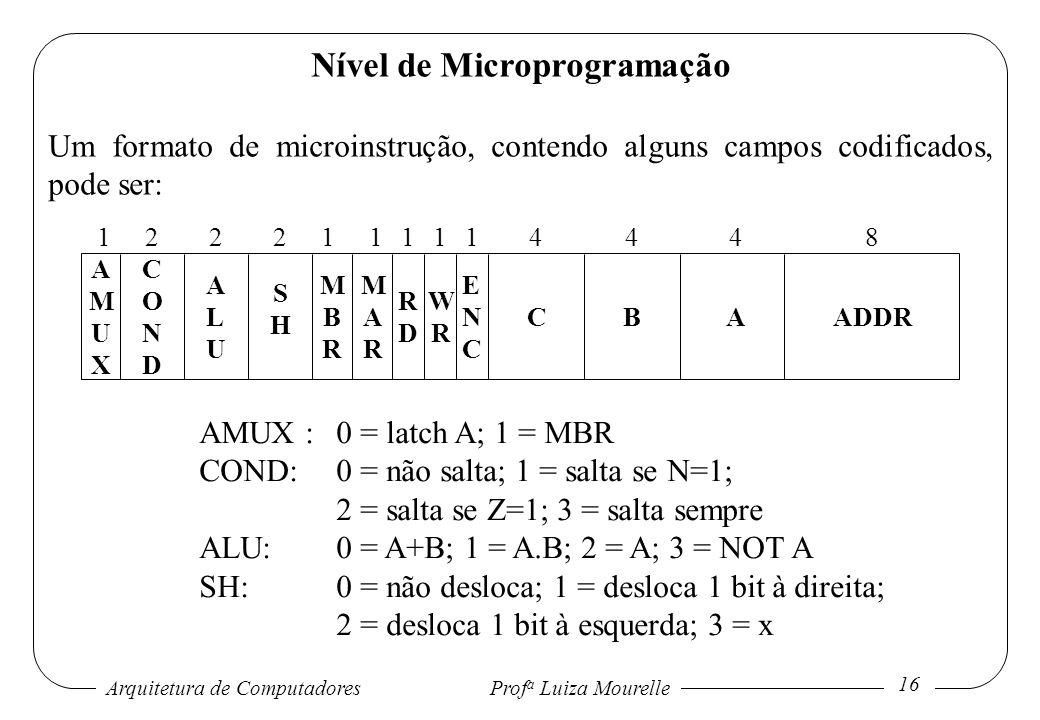 Arquitetura de Computadores Prof a Luiza Mourelle 16 Nível de Microprogramação Um formato de microinstrução, contendo alguns campos codificados, pode