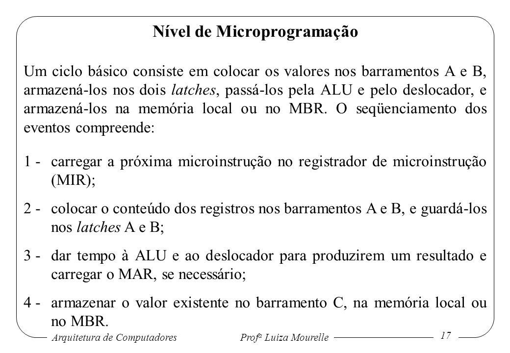 Arquitetura de Computadores Prof a Luiza Mourelle 17 Nível de Microprogramação Um ciclo básico consiste em colocar os valores nos barramentos A e B, a