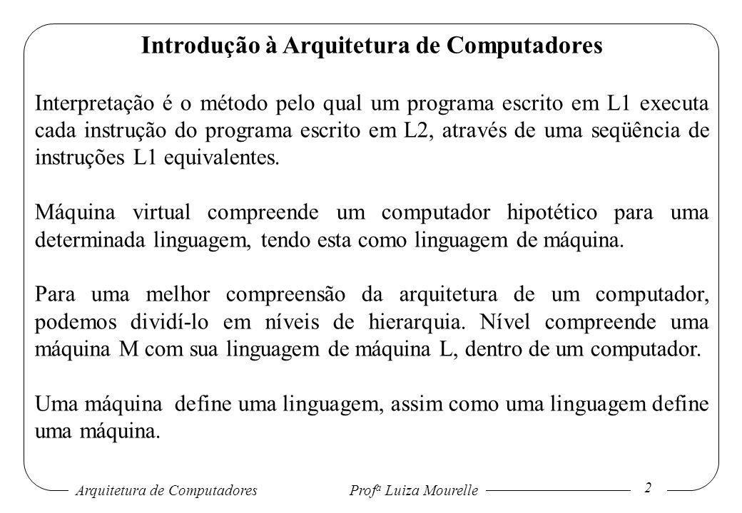 Arquitetura de Computadores Prof a Luiza Mourelle 3 Introdução à Arquitetura de Computadores Um computador com n níveis pode ser visto como n diferentes máquinas virtuais, cada uma com a sua linguagem de máquina.