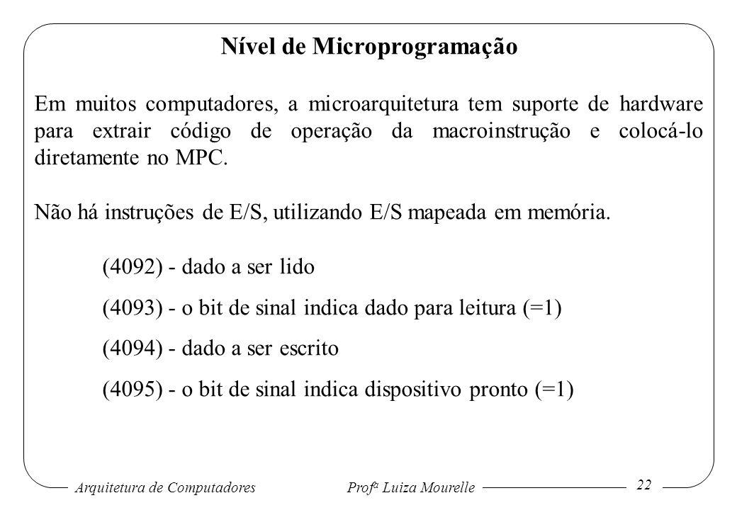 Arquitetura de Computadores Prof a Luiza Mourelle 22 Nível de Microprogramação Em muitos computadores, a microarquitetura tem suporte de hardware para