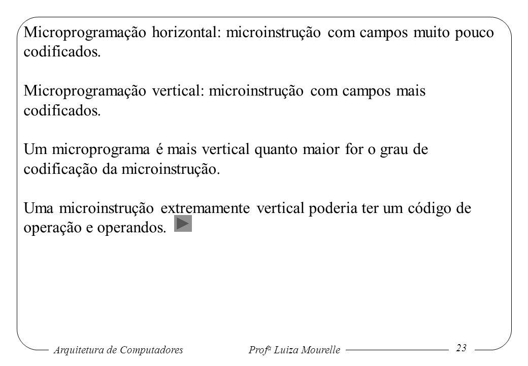 Arquitetura de Computadores Prof a Luiza Mourelle 23 Microprogramação horizontal: microinstrução com campos muito pouco codificados. Microprogramação