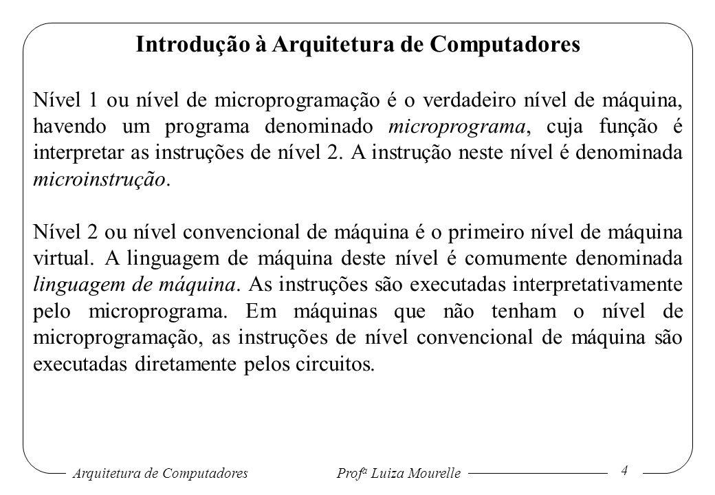 Arquitetura de Computadores Prof a Luiza Mourelle 5 Introdução à Arquitetura de Computadores Nível 3 ou nível de sistema operacional apresenta a maior parte das instruções em linguagem de nível 2, um conjunto de novas instruções, organização diferente da memória, capacidade de execução de dois ou mais programas em paralelo.
