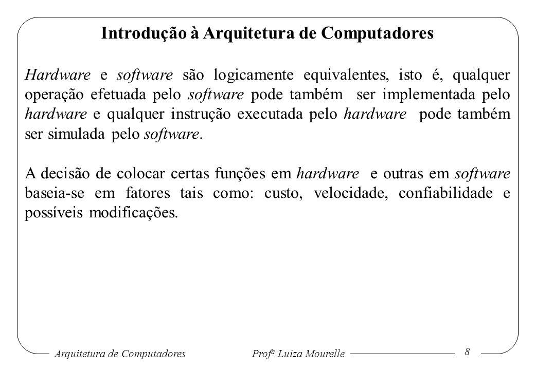 Arquitetura de Computadores Prof a Luiza Mourelle 8 Introdução à Arquitetura de Computadores Hardware e software são logicamente equivalentes, isto é,