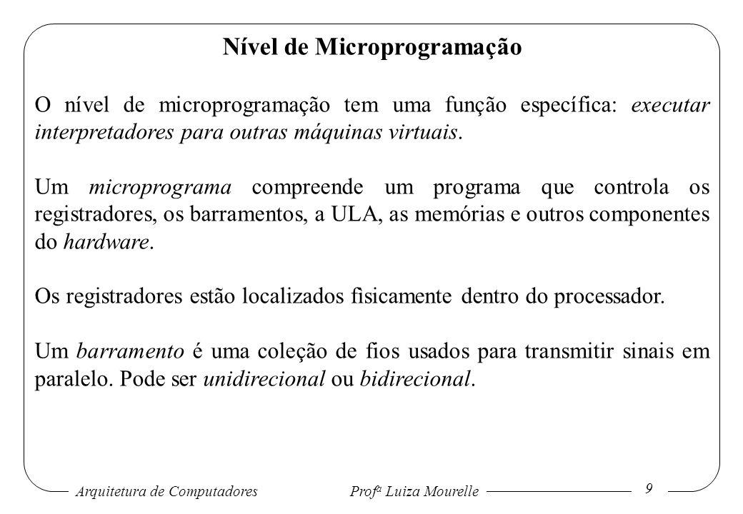 Arquitetura de Computadores Prof a Luiza Mourelle 20 Nível de Microprogramação O microprograma, para a arquitetura proposta, deve realizar a busca, decodificação e execução da instrução do programa de nível convencional de máquina.
