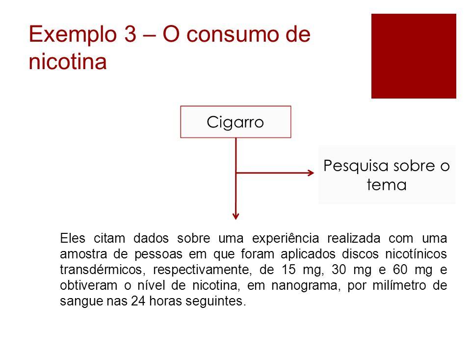 Cigarro Pesquisa sobre o tema Eles citam dados sobre uma experiência realizada com uma amostra de pessoas em que foram aplicados discos nicotínicos tr