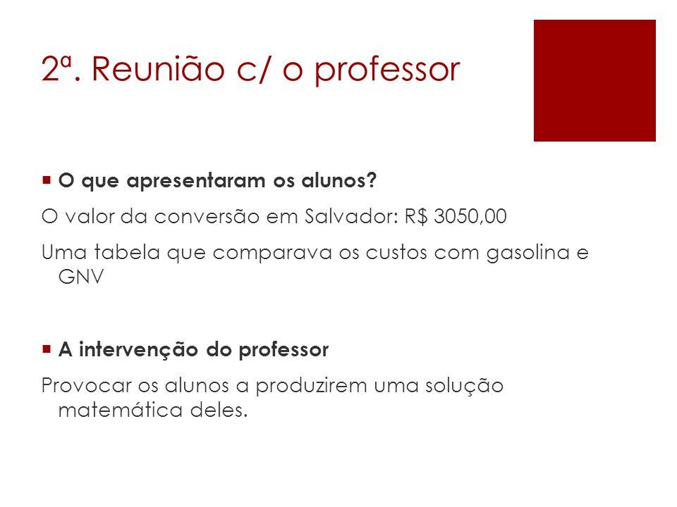 2ª. Reunião c/ o professor O que apresentaram os alunos? O valor da conversão em Salvador: R$ 3050,00 Uma tabela que comparava os custos com gasolina