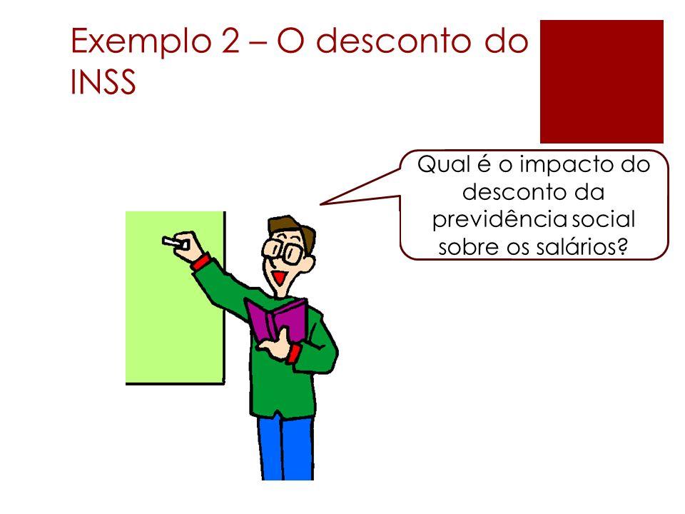 Exemplo 2 – O desconto do INSS Qual é o impacto do desconto da previdência social sobre os salários?