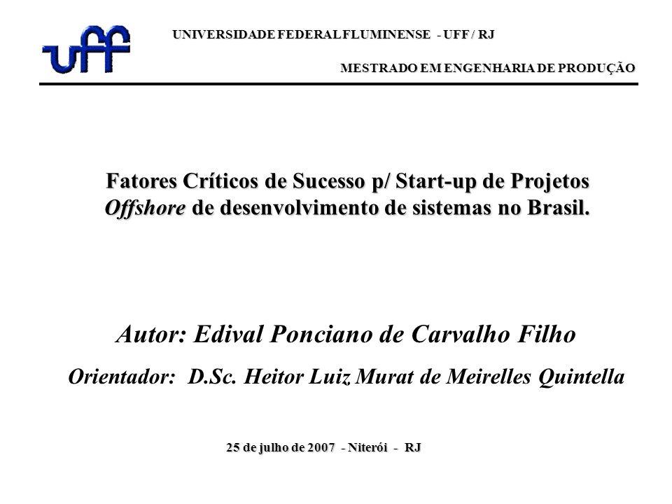 Fatores Críticos de Sucesso p/ Start-up de Projetos Offshore de desenvolvimento de sistemas no Brasil. Autor: Edival Ponciano de Carvalho Filho Orient