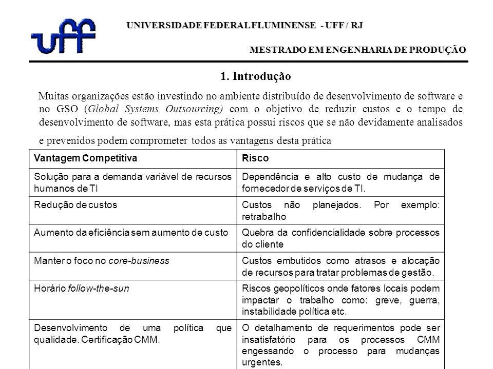 UNIVERSIDADE FEDERAL FLUMINENSE - UFF / RJ MESTRADO EM ENGENHARIA DE PRODUÇÃO 1. Introdução Muitas organizações estão investindo no ambiente distribuí