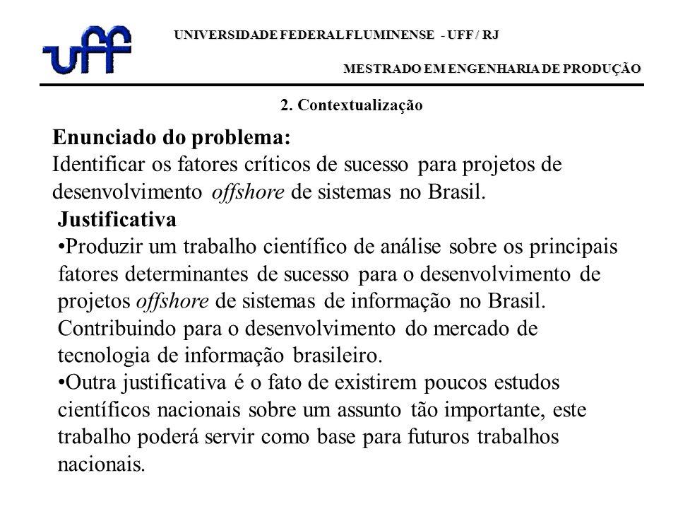 2. Contextualização Enunciado do problema: Identificar os fatores críticos de sucesso para projetos de desenvolvimento offshore de sistemas no Brasil.