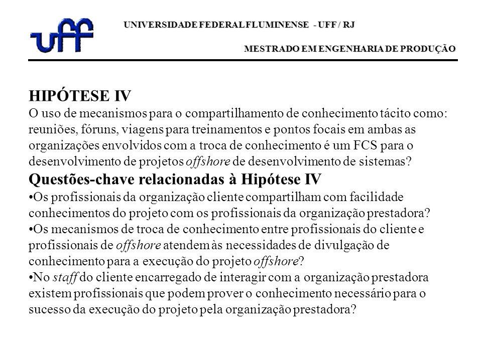 UNIVERSIDADE FEDERAL FLUMINENSE - UFF / RJ MESTRADO EM ENGENHARIA DE PRODUÇÃO HIPÓTESE IV O uso de mecanismos para o compartilhamento de conhecimento