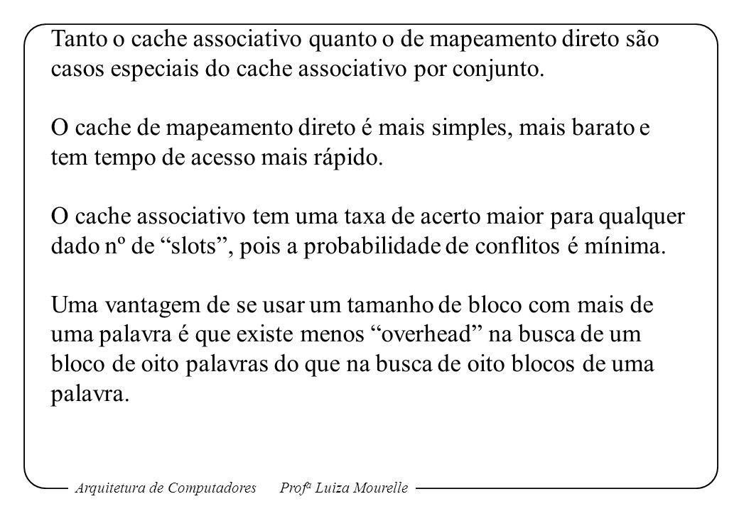 Arquitetura de ComputadoresProf a Luiza Mourelle Tanto o cache associativo quanto o de mapeamento direto são casos especiais do cache associativo por conjunto.